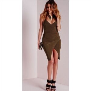 Asymmetrical Olive Bodycon Dress